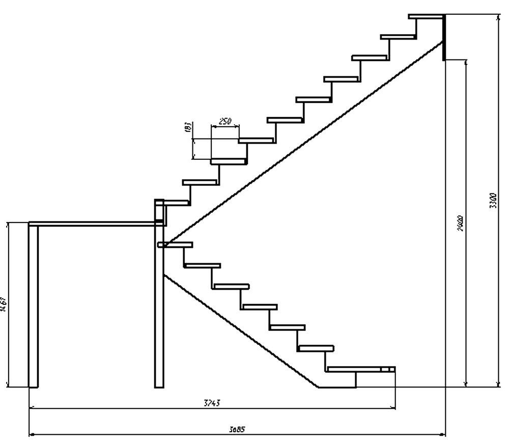 Лестница своими руками с поворотом на 180  291