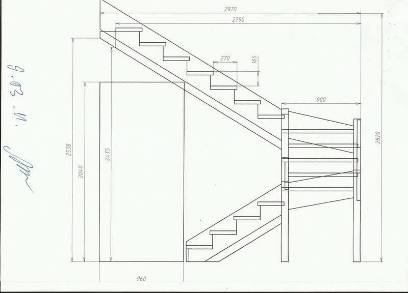 Лестница своими руками с поворотом на 180  162