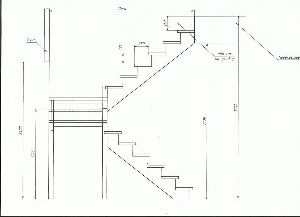 Лестница своими руками с поворотом на 90 445